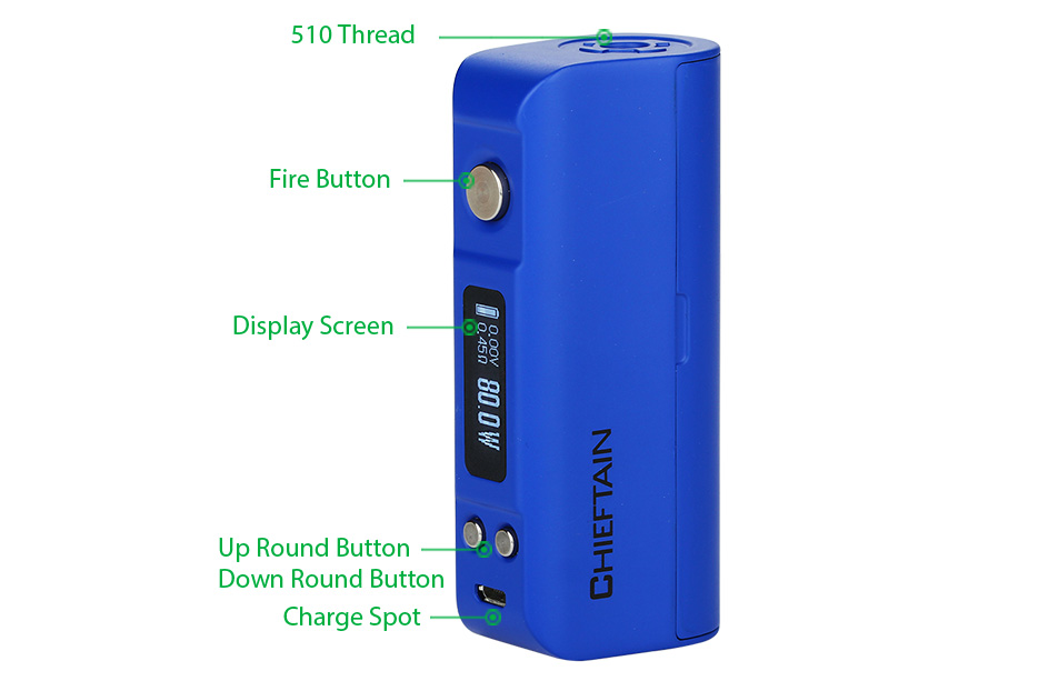 WotoFO Chieftain 80W TC BOX MOD W / O Battery