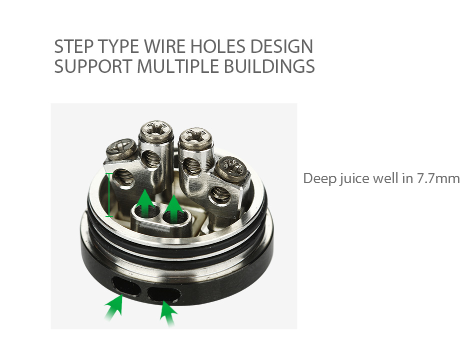 dual posts with 4 wire holes for easy building  step type wire holes design  support multiple buildings  deep juice well in 7 7mm