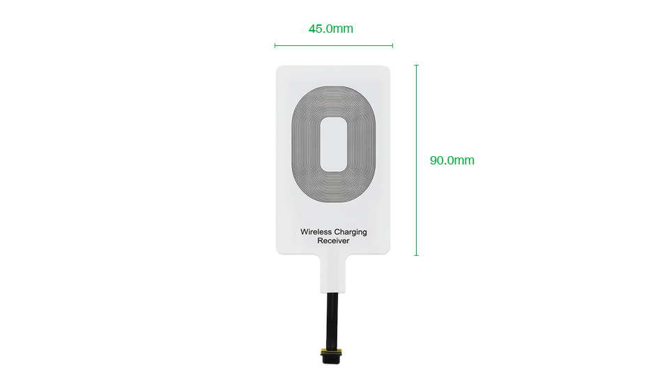 Size: 45 x 90mm   Product Standard: Qi  Chip: US TI     Material: ABS+PC Output: 5V/1A     Color: White Compatibility: All Lighting/Micro USB/Type C Ports Smartphones