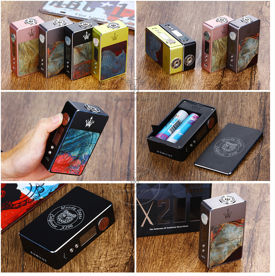 Woody Vapes Stabilized Wood X200 TC Box MOD W/O Battery