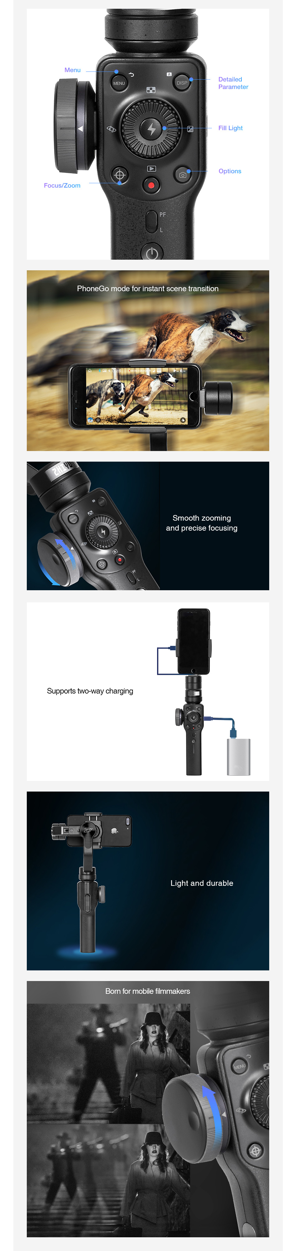 Zhiyun Smooth 4 3-Axis Handhelp Gimbal Stabilizer for Smartphone 4000mAh