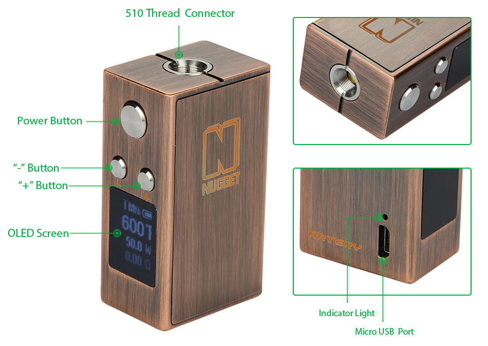 50W Artery Nugget TC Box MOD Zinc Edition - 1000mAh