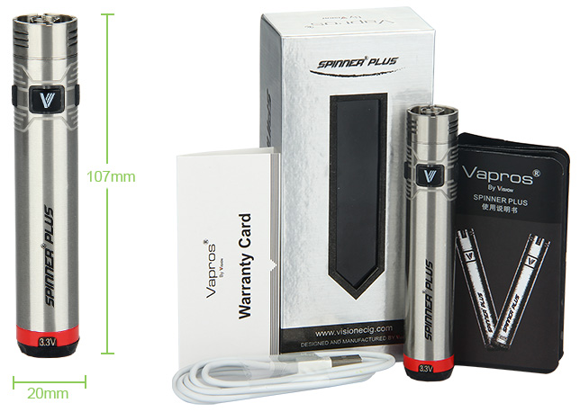 Vision Vapros Spinner Plus Battery - 1500mAh, Steel