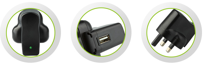 AC-USB Adapter - 500mA, UK Plug