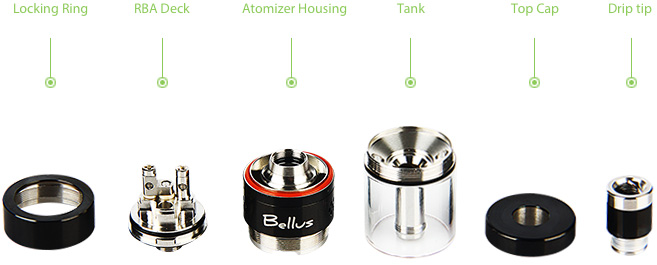 UD Bellus RTA Top-Fill Tank Atomizer - 5ml, Black