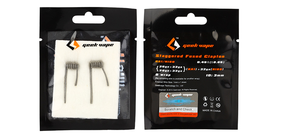 2pcs GeekVape Staggered Fused Clapton KA1/Ni80 Coil