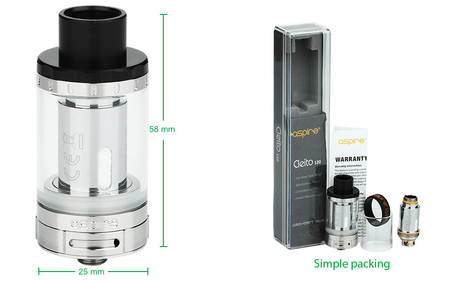 Aspire Cleito 120 Tank - 4ml, Steel
