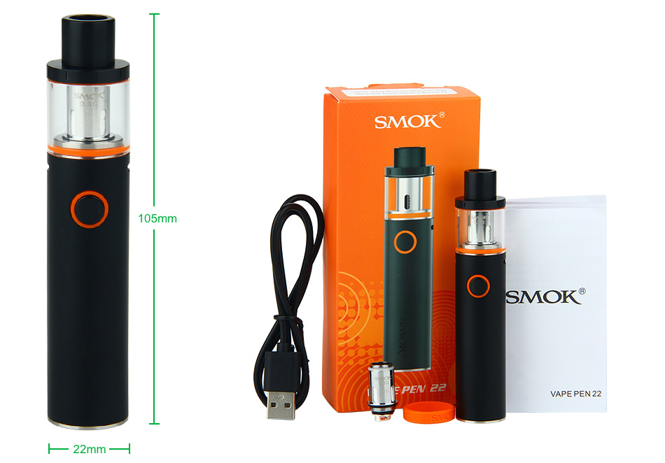 SMOK Vape Pen 22 Starter Kit - 1650mAh, Black