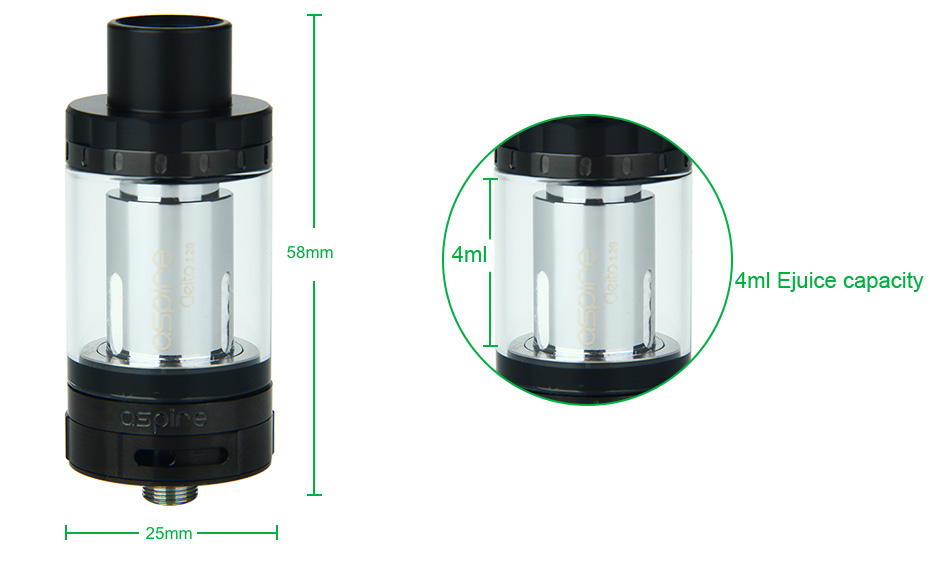 Aspire Cleito 120 Tank - 4ml, Hitam