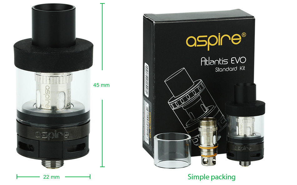 Aspire Atlantis EVO Standard Tank Kit - 2ml, Black & White
