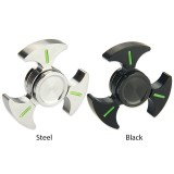 Luminous Triangle Hand Spinner with Ceramic Center Bearing - Black & Steel