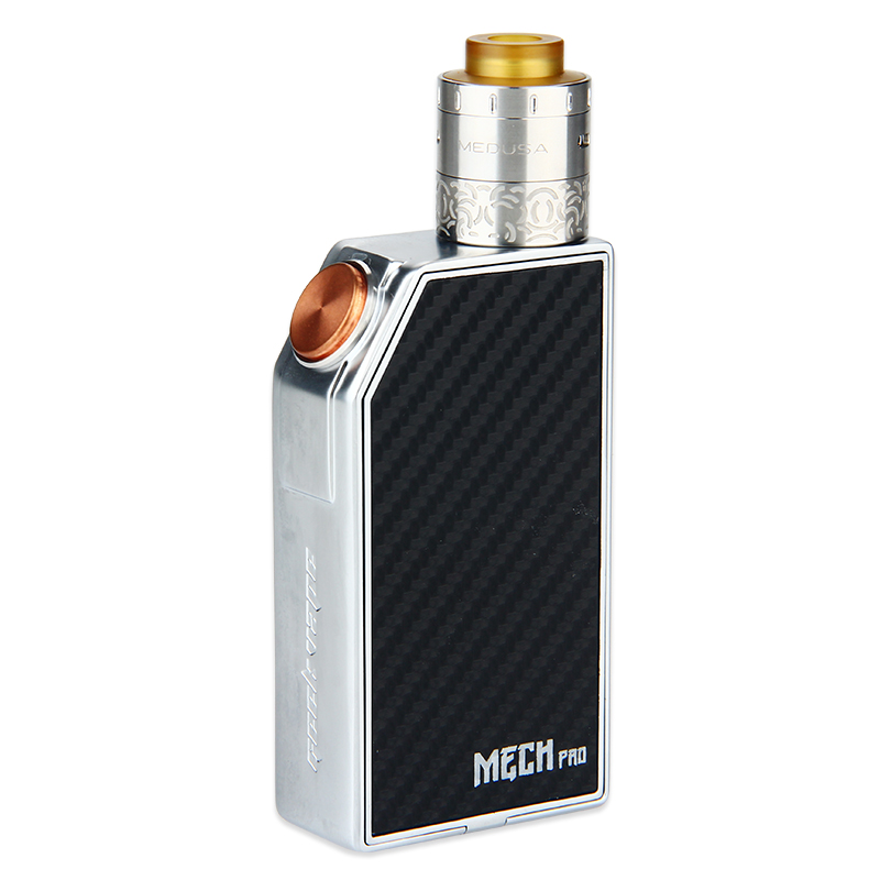 GeekVape MECH Pro Kit is advanced mechanical kit, consisting of a Medusa RDTA and a MECH Pro MOD. User can decorate the MECH Pro with interchangeable cover plates. 3 colors.