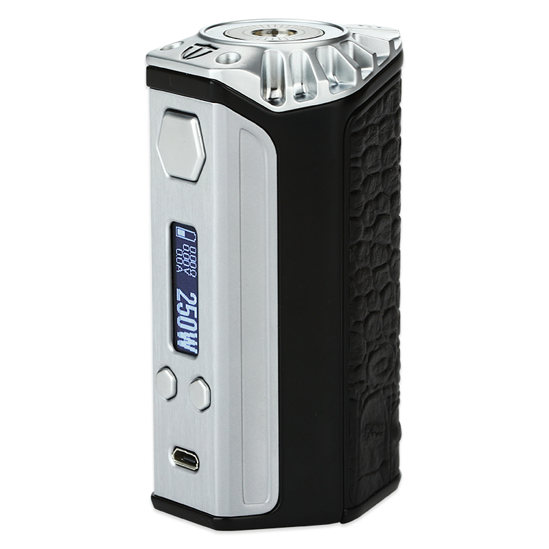 Think Vape Finder 250W adopts the same Evolv DNA 250 chip as its predecessor Finder 167. Powered by three 18650 batteries, it can reach a true power output of 250 watts making it a top performer of the high-powered vape mods.