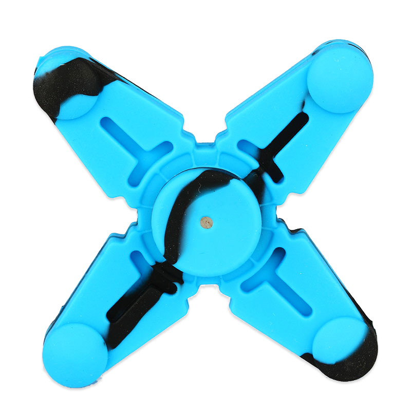 Vapesoon Silicone Hand Spinner Fidget Toy with Four Spins(Black Blue)