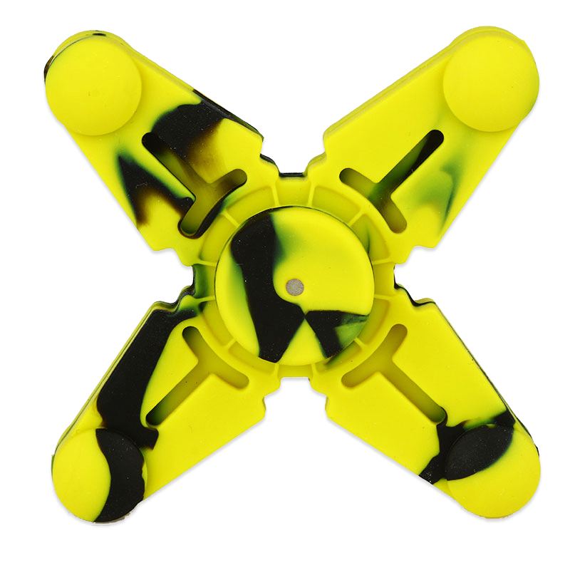 Vapesoon Silicone Hand Spinner Fidget Toy with Four Spins(Black Yellow)